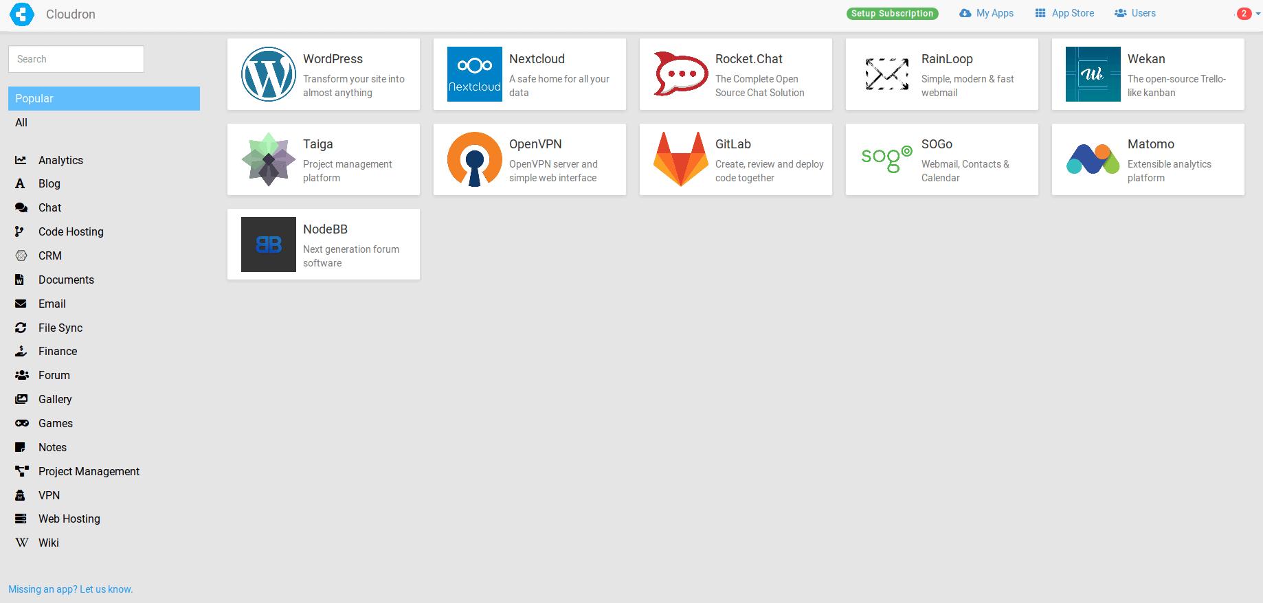Cloudron App Store