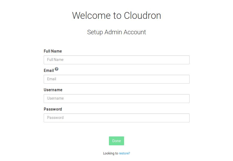 Cloudron initial setup